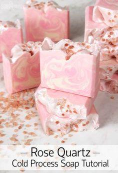 Rose Quartz Cold Process Soap Tutorial #soapmakingbusinessetsy