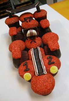 Race Car Cake made with cupcakes