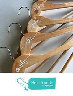 Custom Calligraphy Personalized Bridesmaid Hanger on Natural Wood with White Paint Lettering, Bridal Party Bride or Maid of Honor Gift from Laird & Brie https://www.amazon.com/dp/B01N7ULYFY/ref=hnd_sw_r_pi_dp_.VmNybXCG7C8M #handmadeatamazon