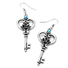 Joji Boutique - antiqued silver key drop earrings with turquoise detail, (http://www.jojiboutique.com/products/antiqued-silver-key-drop-earrings-with-turquoise-detail.html)