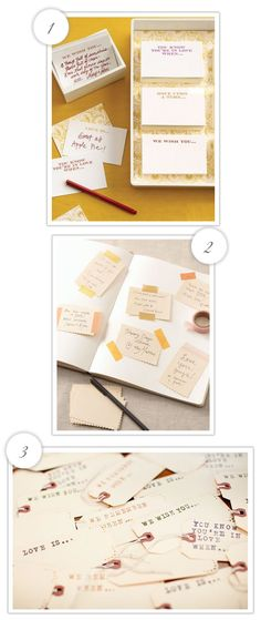 This page has some of the cutest guestbook ideas! I have so many ideas floating around for the guestbook that I really do need to sit down and pick one.