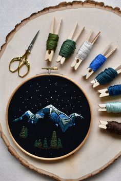 Create your own mountain embroidery with this PDF pattern and instructional guide. Learn how to embroider based on an original hand-drawn embroidery. The guide includes 21 pages of content to prepare you to start stitching. Dmc Embroidery Floss, Modern Embroidery, Embroidery Hoop Art, Embroidery Patterns, Embroidery For Beginners, Satin Stitch, Etsy Seller, Arts And Crafts, Dark Websites