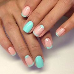 Blue and Nude Cute Simple Nail Design