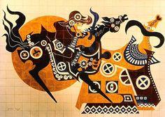 O Vaqueiro, de Juracy Dórea (1980): Técnica mista sobre azulejos; 180 x 220 cm – Mercado de Arte Popular, em Feira de Santana, Bahia, Brasil