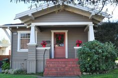 red brick houses with blue and gray trim images | New house / Medium grey siding and white trim with red brick.