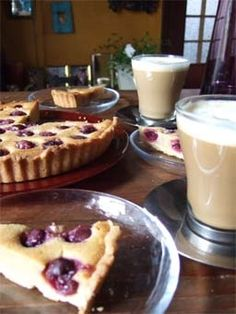 Cherry pie with cafe latte
