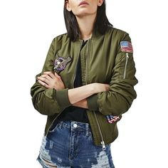 """Women's Topshop Badged Ma1 Bomber Jacket"" ($110) ❤ liked on Polyvore featuring olive and topshop"