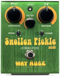 Way Huge Swollen Pickle MkII Fuzz Pedal. While Way Huge Electronics is not necessarily as big as other pedal manufacturers, they have been producing very interesting modern renditions of classic effects. The Swollen Picke MkII showcases their design philosophy, which goes beyond mere emulation and allows for more tone personalization. For a detailed guide to Fuzz Pedals see http://www.guitarsite.com/fuzz-pedals/