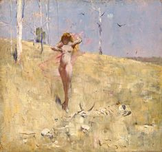 Spirit of the Drought Sir Arthur Streeton circa 1895 National Gallery of Australia -ACT (Australia) Painting - oil on panel Height: cm in.), Width: cm in. Australian Painters, Australian Artists, Art Romantique, Art Nouveau, Google Art Project, Melbourne, Sydney, Post Impressionism, Art Database