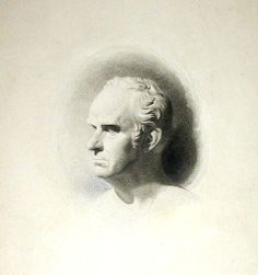 First state of engraving of a portrait bust of Daniel Webster, engraved by S.A. Schoff, after a sculpture by Hiram Powers, collection of Jonathan Small. Schoff later darkened the shading on the left and lightened the shading on the right.