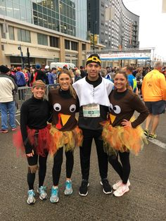 Turkey Trot costumes! With pilgrim and Indian #thanksgivingrace