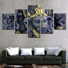 Home Decor Buddha Meditation Energy Aura Canvas Prints Painting Wall Art 5PCS