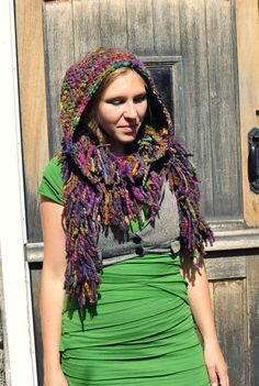 Crochet hooded tassle boa scarf snood 'Earthbow' - multicolour rainbow hand dyed handspun art yarn wool hood hat - Handmade & Ready to Ship