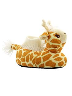 98ea2b22fe8 These cute house shoes are sure to bring a smile to any one s face. These  plush slippers feature a giraffe head