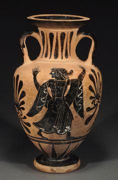 Etruscan black-figure neck amphora by the Micali Painter