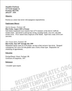 Resume For Hairstylist Cosmetologist Resume Examples Student  Httpwwwresumecareer