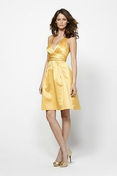 Bridesmaid V-neck Back Bow Detail Shirred Waistband Knee Length Dress-WBM0161, $156.45