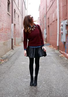 Burgundy fitted sweater + chambray button up + black faux leather skater skirt + black tights + black boots