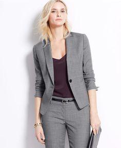 5fd65977de15 Ann Taylor One Button Jacket Blazer Gray carrier outfit size 8T Free  Shipping  AnnTaylorLOFT