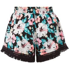 New Look Black Tropical Print Fringed Shorts ($13) ❤ liked on Polyvore featuring shorts, bottoms, pants, short, black pattern, tassel shorts, print shorts, patterned shorts, fringe shorts and short shorts