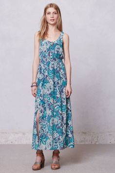 Annas Maxi Dress - Anthropologie. This is crazy expensive but in my 2 years of searching for a maxi dress that actually looks good on a short person, this one did. Good if you feel like splurging or at least good to note the style - elastic under boob, high slits for walking purposes.
