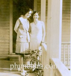 Gatsby Era Flappers Vintage Photo The Two Turner Girls Sisters Front Porch Found Photograph