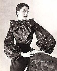 Pierre Balmain, 1950 vintage fashion style designer blouse shirt top polka dots bow puff sleeves