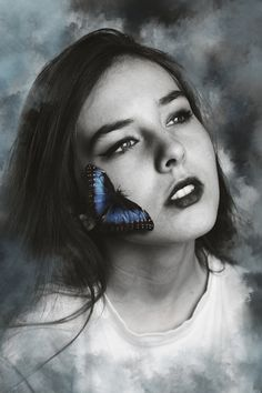 There's beauty in all of us. #butterfly #portrait #real #blue #model #girl #pretty #beauty