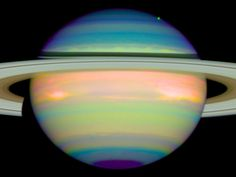 False-color image of Saturn shows the planets reflected infrared...