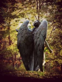 """OK, I admit what I immediately think is """"weeping angel, Dr Who"""" Cemetery Angels, Cemetery Statues, Cemetery Art, Angels Among Us, Angels And Demons, Statue Ange, Sculpture Art, Sculptures, Elfen Fantasy"""