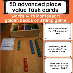 Montessori Elementary math activity designed for fluent readers. Common core linked. Command Cards: 50 Activities to help with place value with hundreds, tens and units. Can be used alongside any montessori math hands on equipment.