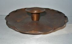 SMALL ARTS CRAFTS Hand Crafted COPPER CANDLEHOLDER Rich PATINA Floriform Shaped