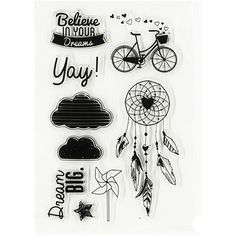 1 Pcs Transparent Rubber Standard Stamp for Believe In Your Dream  Decorative Clear Stamps for Scrapbook DIY Scrapbooking.