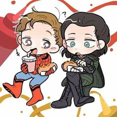 Peter & Loki by mermer Avengers Cartoon, Avengers Team, Avengers Quotes, Avengers Imagines, Avengers Cast, Marvel Jokes, Loki Thor, Loki Laufeyson, Marvel Fan