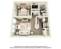 This Is A Cool Example Of A One Bedroom One Bathroom 3d Floor Plan For