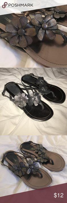 "Enzo angiolini pewter flower sandals 6.5 Enzo angiolini flower sandals. Pewter color. Slight wedge 3/4"". Enzo Angiolini Shoes Sandals"