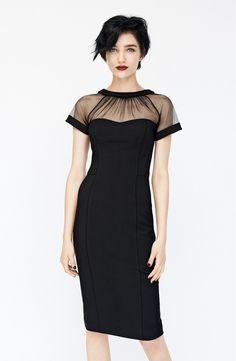 Maggy London Illusion Yoke Crepe Sheath Dress in black