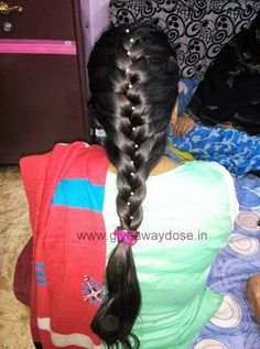 Giveaway dose: Easy Braided hairstyle for Long hairs :) Easy Braided Hairstyles For Long, Long Black Hair, Braids For Long Hair, French Braid, Grow Hair, My Hair, Giveaway, Hair Cuts, Dreadlocks