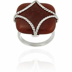 Glitzy Rocks Sterling Silver Square Red Jade Braided Design Ring | Overstock.com Shopping - Top Rated Glitzy Rocks Gemstone Rings