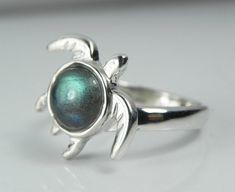 Sea Turtle Ring  Gemstone Turtle Jewelry  by FantaSeaJewelry