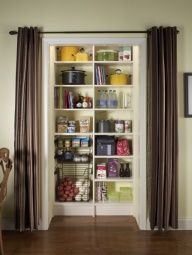 Beautiful Wall Of Skinny Storage Area Behind Curtains (as If Large Window On The  Wall; Even On Both Sides Of Window)!!