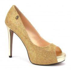 c2c6b23db Sapato Feminino Peep Toe Salto Alto Verde Dourado