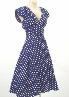 This dress is 40s #style Navy White Polkadot Swing Dress #blue