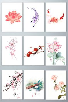Chinese wind and ink plant material Chinese Artwork, Chinese Drawings, Chinese Painting, Art Drawings, Japanese Watercolor, Japanese Art, Watercolor Flowers, Watercolor Art, Chinese Background