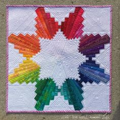Amazing rainbow star made from a variation of court house steps blocks xxx