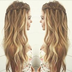 pelo ondulado Balayage con la cascada de la trenza Peinados - Estilos de pelo…