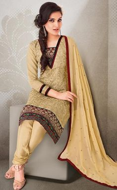 $63.7 Brown Cotton Thread Work Churidar Salwar Kameez 23959
