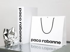 Brand book, brand identity and shopping bags for French fashion label Paco Rabanne by Zak Group, United Kingdom