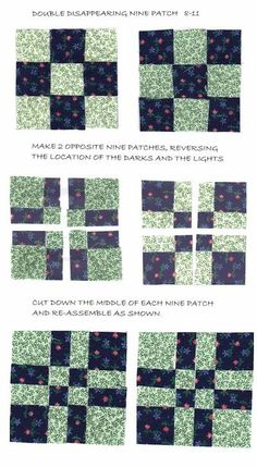 Disappearing 9 Patch Quilt Block / quilting fever - Juxtapost Hand Quilting Patterns, Easy Quilt Patterns, Patchwork Quilting, Quilting Tutorials, Pattern Blocks, Patchwork Patterns, Quilting Tips, Quilt Blocks Easy, Easy Quilts
