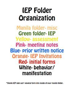 Simply Special Education: Organizing IEP Files